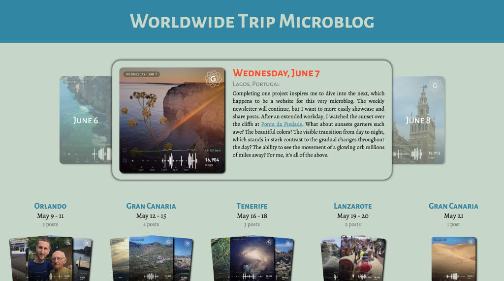Worldwide Trip Microblog screenshot
